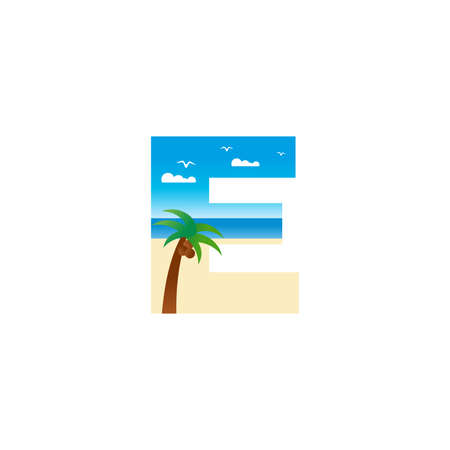 Modern and Exotic illustration logo design initial E shaped like a beach.