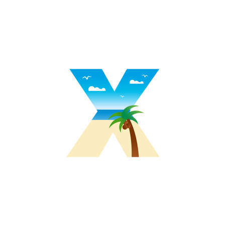 Modern and Exotic illustration logo design initial X shaped like a beach.