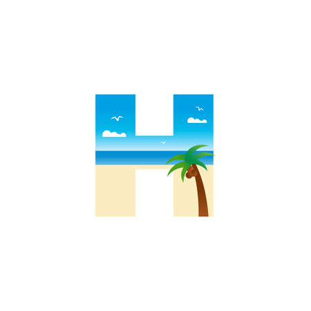 Modern and Exotic illustration logo design initial H shaped like a beach.