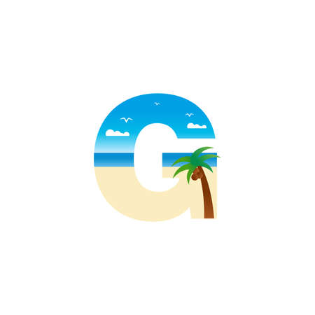 Modern and Exotic illustration logo design initial G shaped like a beach.