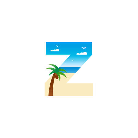Modern and Exotic illustration logo design initial Z shaped like a beach. Ilustracja