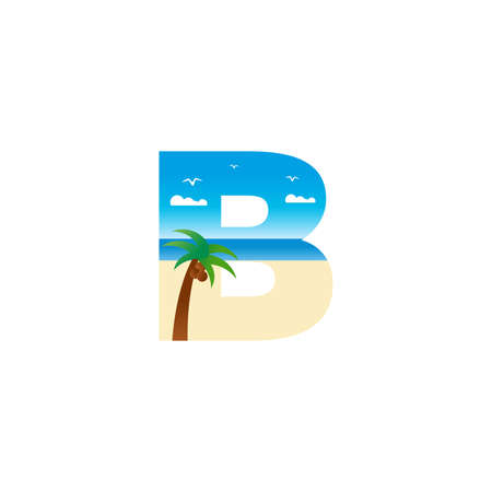 Modern and Exotic illustration logo design initial B shaped like a beach. Ilustracja