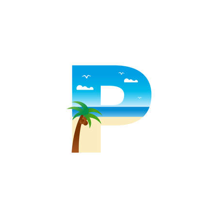 Modern and Exotic illustration logo design initial P shaped like a beach.