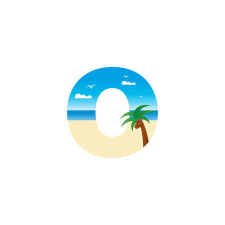 Modern and Exotic illustration logo design initial O shaped like a beach.