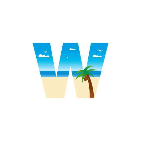 Modern and Exotic illustration logo design initial W shaped like a beach.