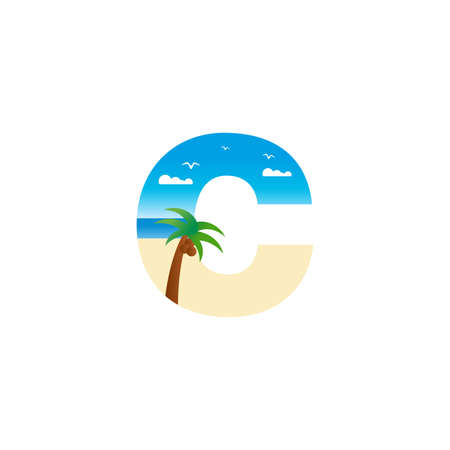 Modern and Exotic illustration logo design initial C shaped like a beach.