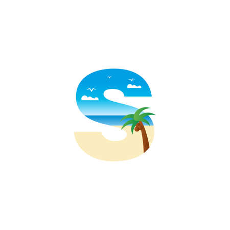 Modern and Exotic illustration logo design initial S shaped like a beach. Ilustracja