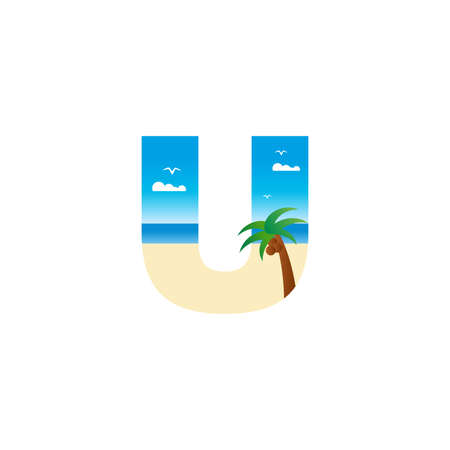 Modern and Exotic illustration logo design initial U shaped like a beach.