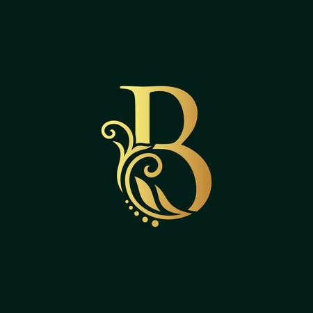 Elegant illustration logo design golden initial B Illusztráció