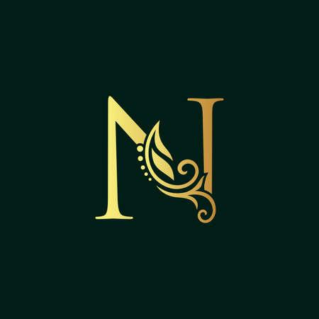 Elegant illustration logo design golden initial N