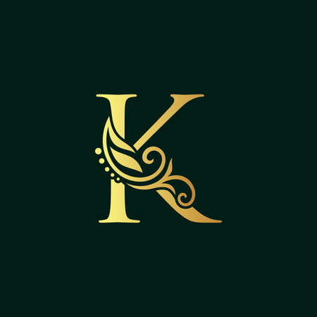 Elegant illustration logo design golden initial K