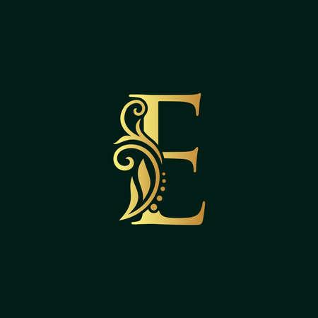 Elegant illustration logo design golden initial E