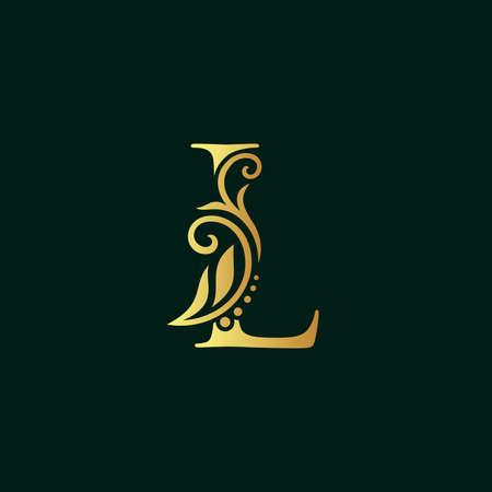 Elegant illustration logo design golden initial L