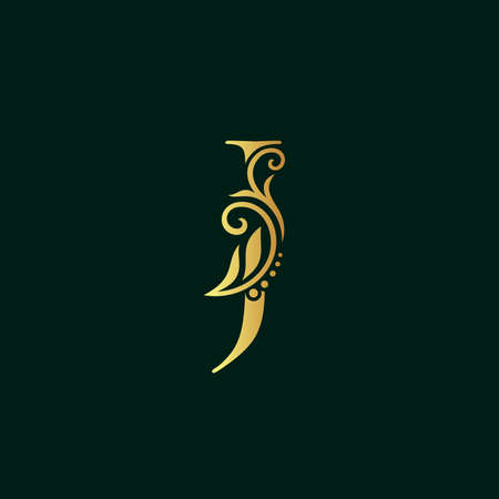 Elegant illustration logo design golden initial J