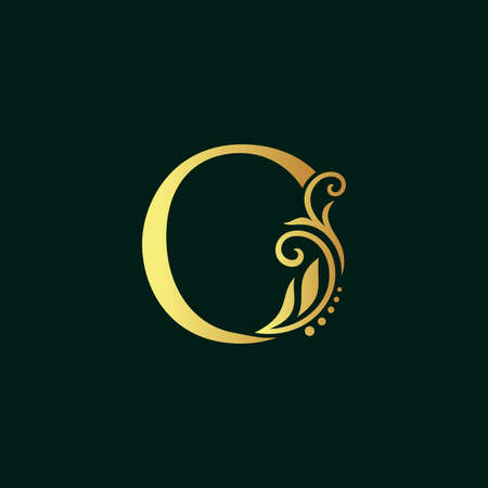Elegant illustration logo design golden initial O Illusztráció