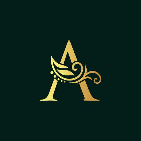Elegant illustration logo design golden initial A