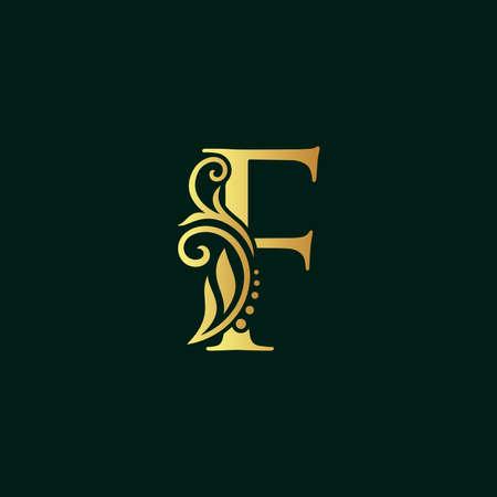 Elegant illustration logo design golden initial F