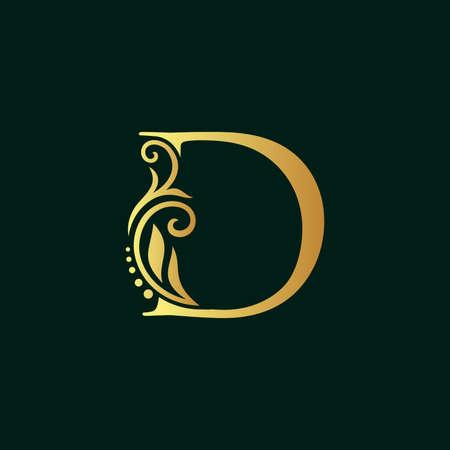 Elegant illustration logo design golden initial D Illusztráció