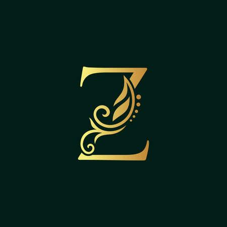 Elegant illustration logo design golden initial Z