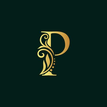 Elegant illustration logo design golden initial P Illusztráció