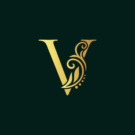 Elegant illustration logo design golden initial V Illusztráció