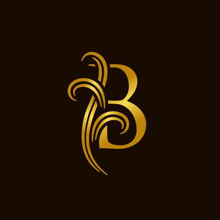 Luxury and elegant illustration logo design golden initial B Illusztráció
