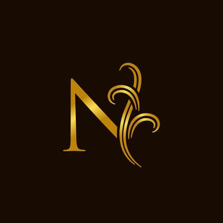 Luxury and elegant illustration logo design golden initial N Logo