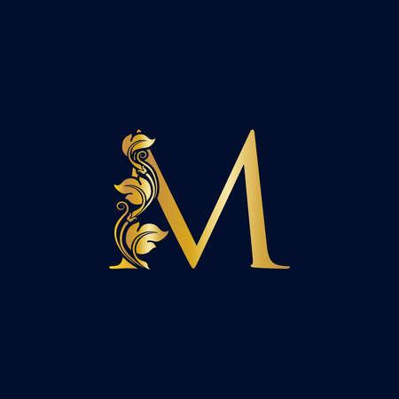 Luxury and Elegant illustration logo design golden initial M Zdjęcie Seryjne - 154313331