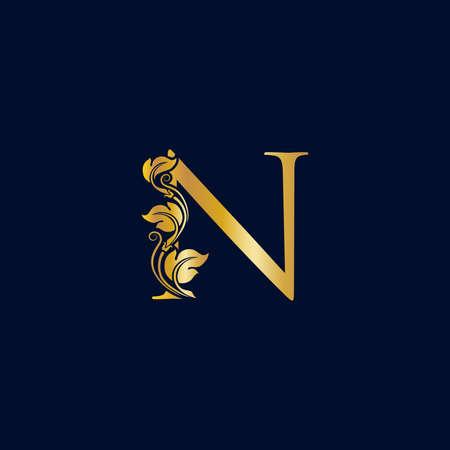 Luxury and Elegant illustration logo design golden initial N Ilustracja
