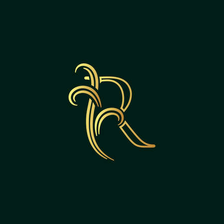 Elegant illustration logo design golden initial line R