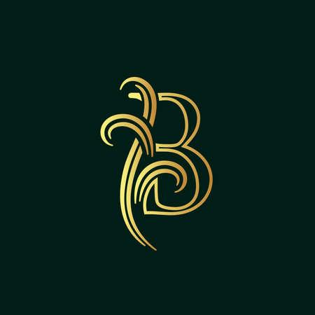 Elegant illustration logo design golden initial line B