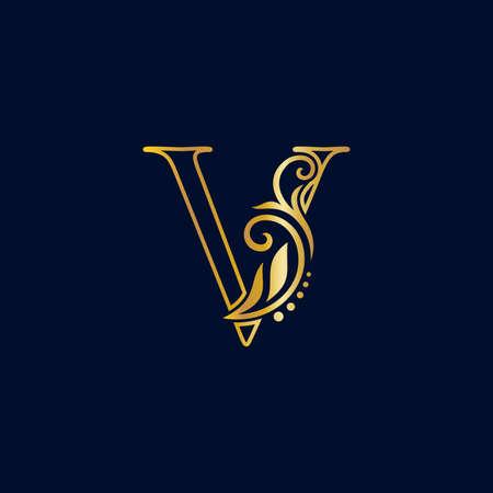 Luxury illustration logo design golden initial line V