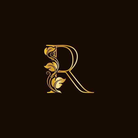 Luxury and elegant illustration logo design golden initial line R