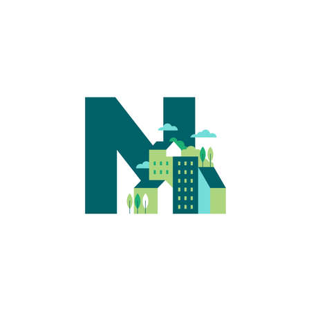 Simple and Clean illustration logo design Initial N building. Zdjęcie Seryjne - 154313342