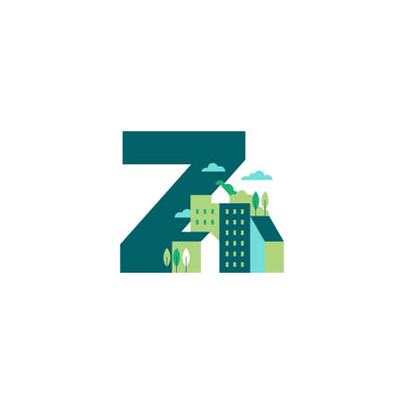 Simple and Clean illustration logo design Initial Z building.