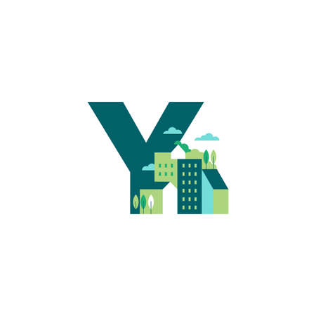 Simple and Clean illustration logo design Initial Y building.