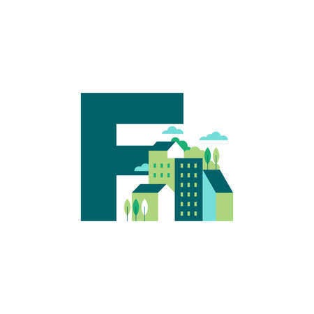 Simple and Clean illustration logo design Initial F building. Zdjęcie Seryjne - 154314335