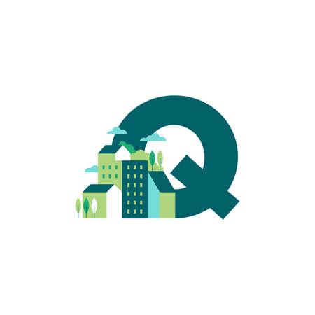 Simple and Clean illustration logo design Initial Q building. Zdjęcie Seryjne - 154314338