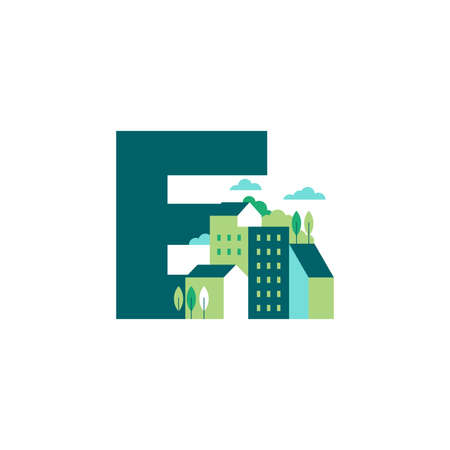 Simple and Clean illustration logo design Initial E building. Zdjęcie Seryjne - 154314340