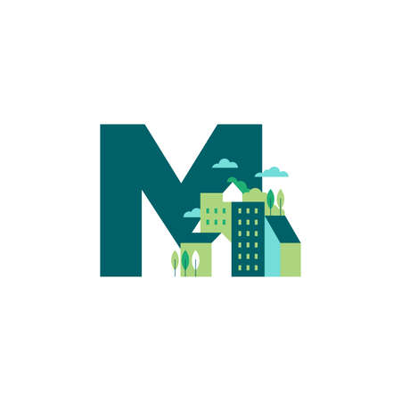 Simple and Clean illustration logo design Initial M building. Zdjęcie Seryjne - 154314341
