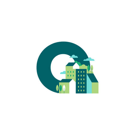 Simple and Clean illustration logo design Initial O building.