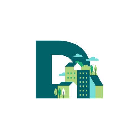 Simple and Clean illustration logo design Initial D building. Zdjęcie Seryjne - 155564583
