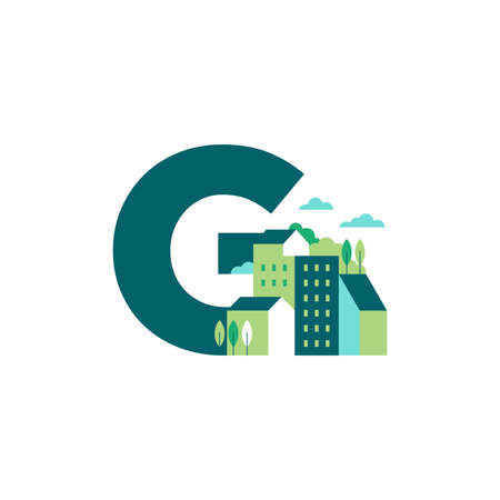 Simple and Clean illustration logo design Initial G building.