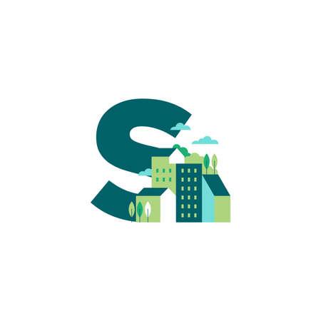 Simple and Clean illustration logo design Initial S building. Zdjęcie Seryjne - 155564586