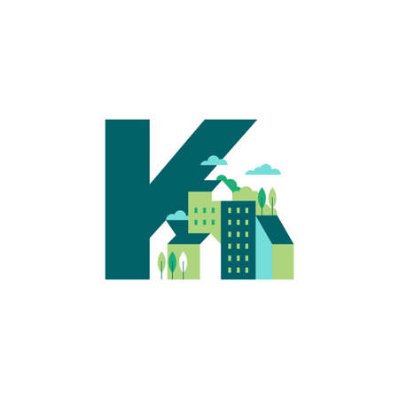 Simple and Clean illustration logo design Initial K building. Zdjęcie Seryjne - 155564585
