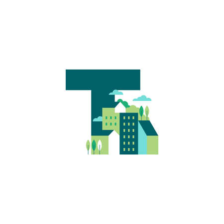 Simple and Clean illustration logo design Initial T building.