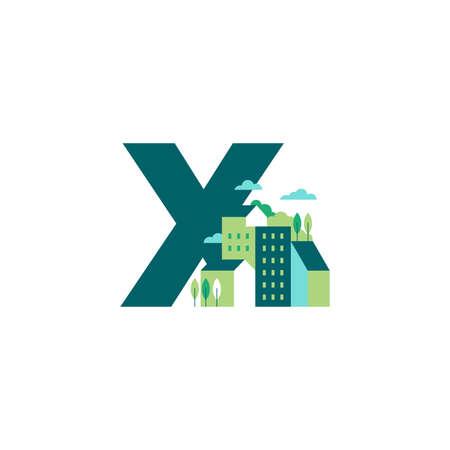 Simple and Clean illustration logo design Initial X building. Zdjęcie Seryjne - 155564589
