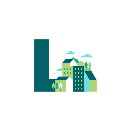 Simple and Clean illustration logo design Initial L building. Zdjęcie Seryjne - 155582771