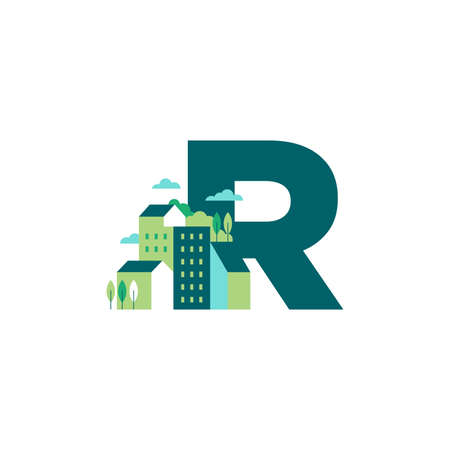 Simple and Clean illustration logo design Initial R building.