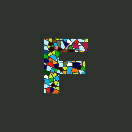 Colorful illustration logo design Initial F Mosaic.